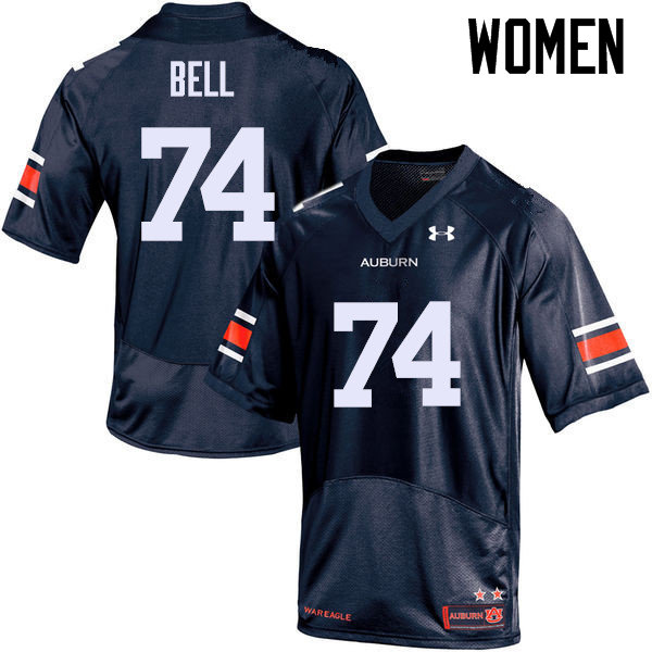 Women Auburn Tigers #74 Wilson Bell College Football Jerseys Sale-Navy