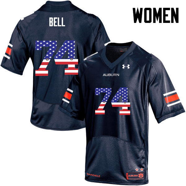 Women #74 Wilson Bell Auburn Tigers USA Flag Fashion College Football Jerseys-Navy