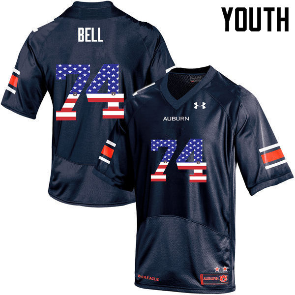 Youth #74 Wilson Bell Auburn Tigers USA Flag Fashion College Football Jerseys-Navy