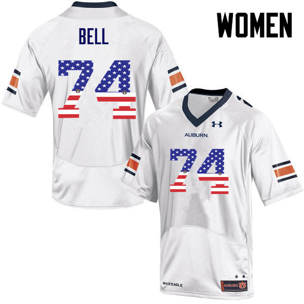 Women #74 Wilson Bell Auburn Tigers USA Flag Fashion College Football Jerseys-White