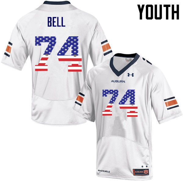 Youth #74 Wilson Bell Auburn Tigers USA Flag Fashion College Football Jerseys-White