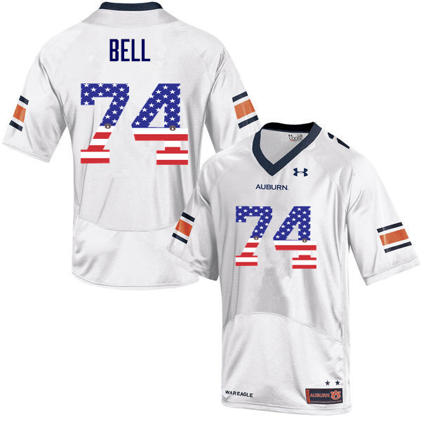Men #74 Wilson Bell Auburn Tigers USA Flag Fashion College Football Jerseys-White