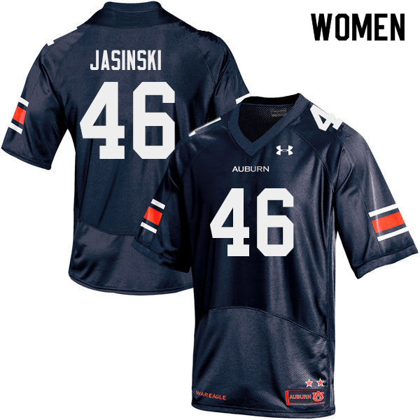 Women #46 Jacob Jasinski Auburn Tigers College Football Jerseys Sale-Navy