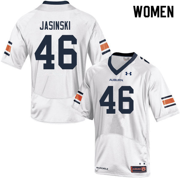 Women #46 Jacob Jasinski Auburn Tigers College Football Jerseys Sale-White
