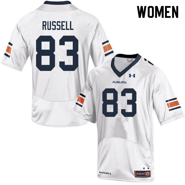 Women #83 Malcolm Russell Auburn Tigers College Football Jerseys Sale-White