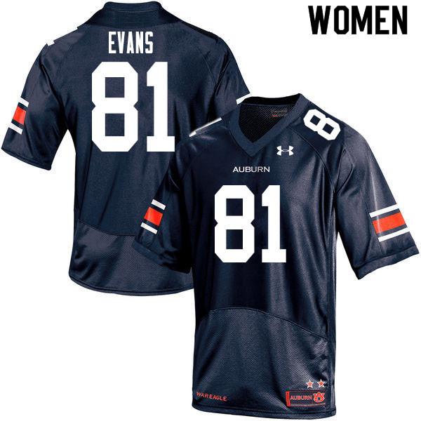 Women #81 J.J. Evans Auburn Tigers College Football Jerseys Sale-Navy