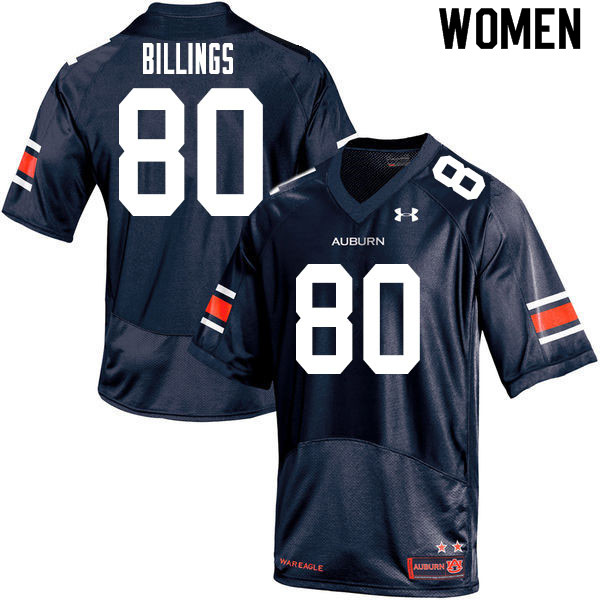 Women #80 Jackson Billings Auburn Tigers College Football Jerseys Sale-Navy