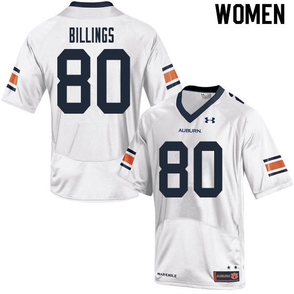 Women #80 Jackson Billings Auburn Tigers College Football Jerseys Sale-White