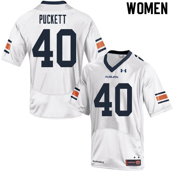 Women #40 Jacoby Puckett Auburn Tigers College Football Jerseys Sale-White