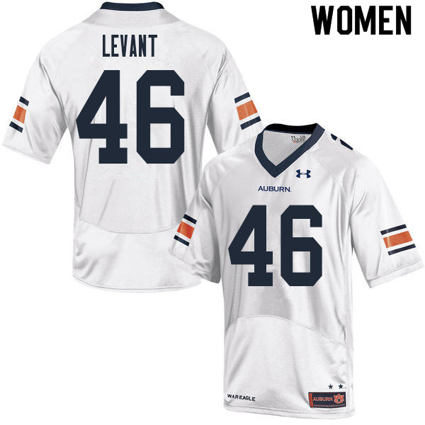 Women #46 Jake Levant Auburn Tigers College Football Jerseys Sale-White