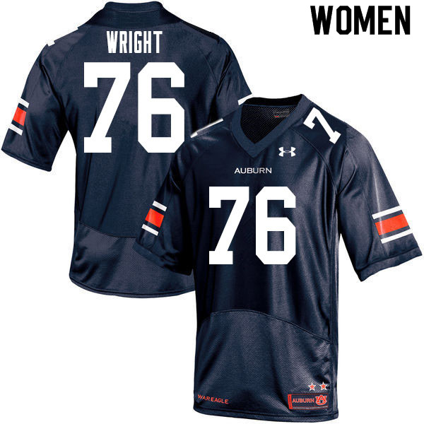 Women #76 Jeremiah Wright Auburn Tigers College Football Jerseys Sale-Navy