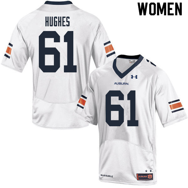 Women #61 Reed Hughes Auburn Tigers College Football Jerseys Sale-White