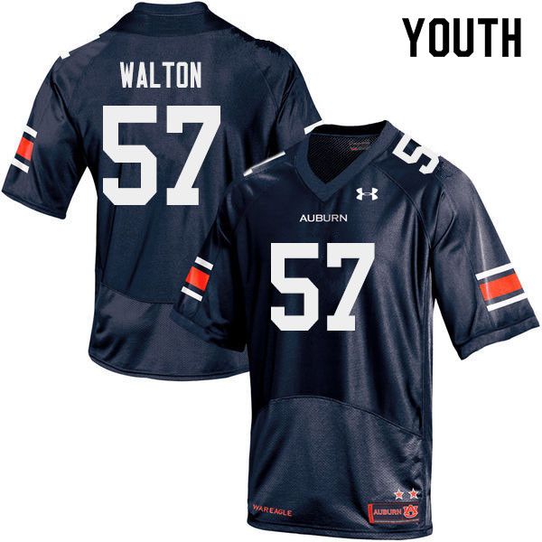 Youth #57 Brooks Walton Auburn Tigers College Football Jerseys Sale-Navy