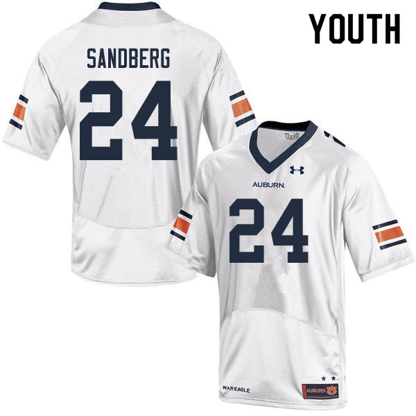 Youth #24 Cord Sandberg Auburn Tigers College Football Jerseys Sale-White