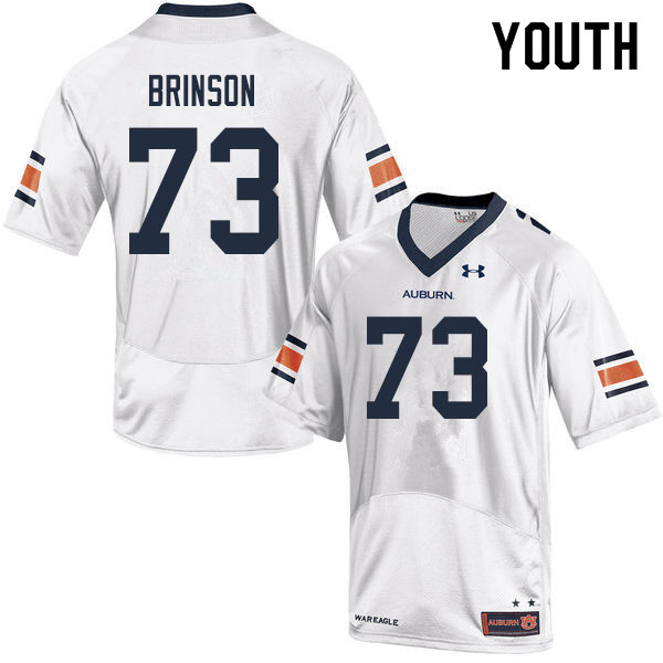 Youth #73 Gabe Brinson Auburn Tigers College Football Jerseys Sale-White