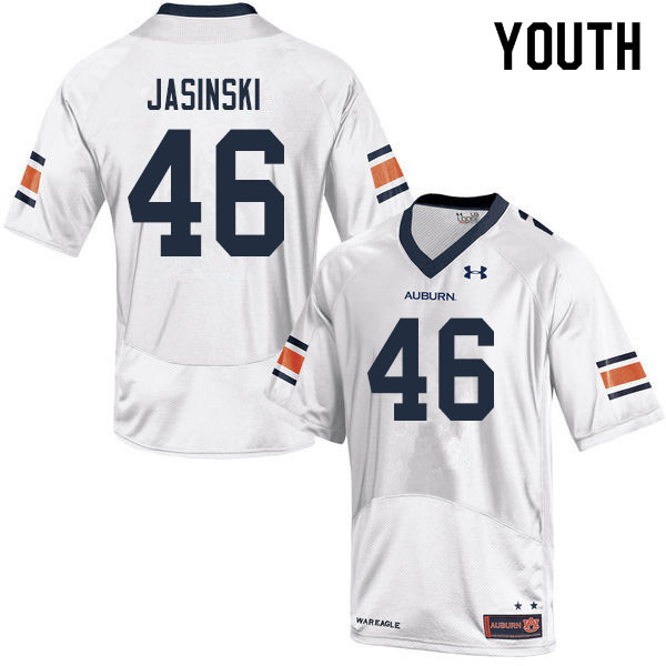 Youth #46 Jacob Jasinski Auburn Tigers College Football Jerseys Sale-White