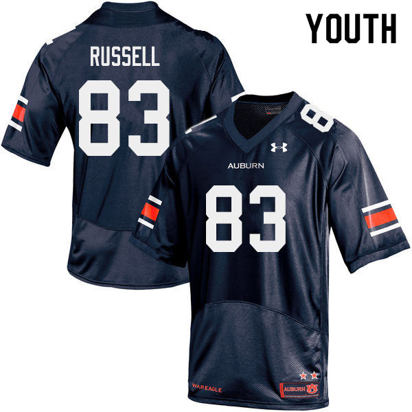 Youth #83 Malcolm Russell Auburn Tigers College Football Jerseys Sale-Navy