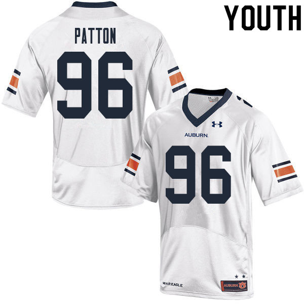 Youth #96 Ben Patton Auburn Tigers College Football Jerseys Sale-White