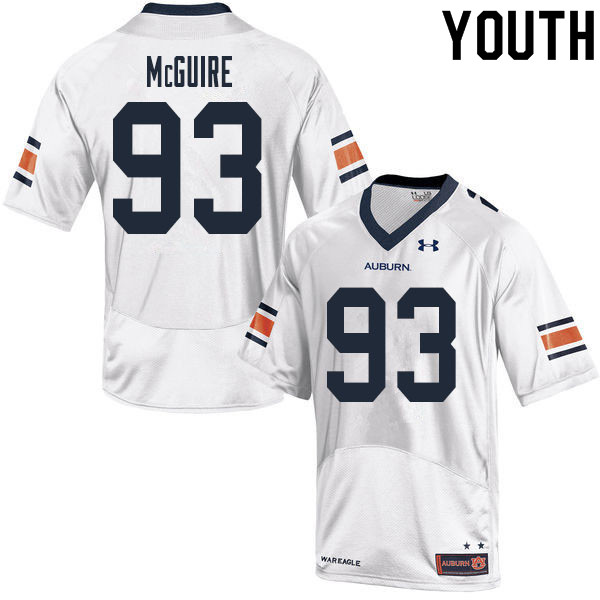 Youth #93 Evan McGuire Auburn Tigers College Football Jerseys Sale-White