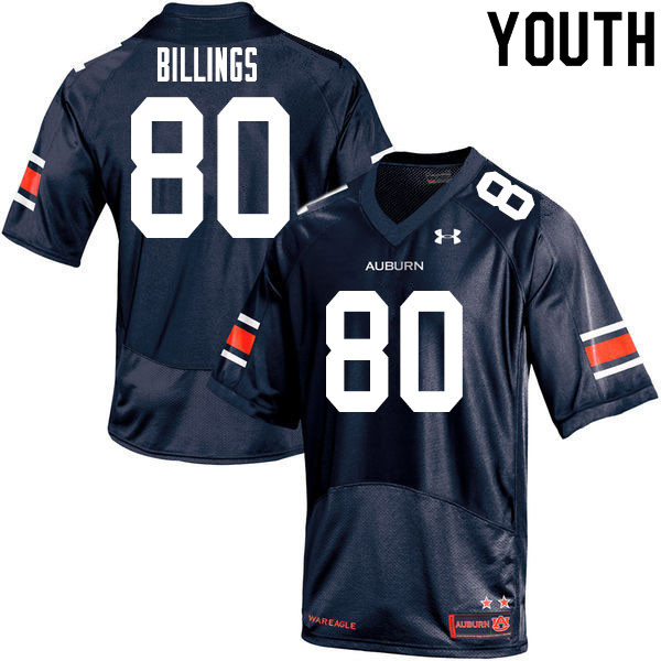 Youth #80 Jackson Billings Auburn Tigers College Football Jerseys Sale-Navy
