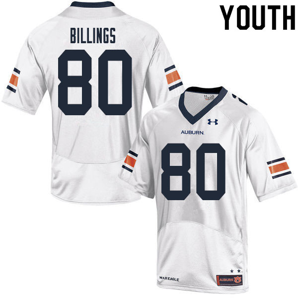 Youth #80 Jackson Billings Auburn Tigers College Football Jerseys Sale-White