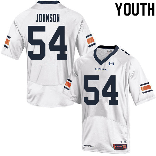 Youth #54 Tate Johnson Auburn Tigers College Football Jerseys Sale-White