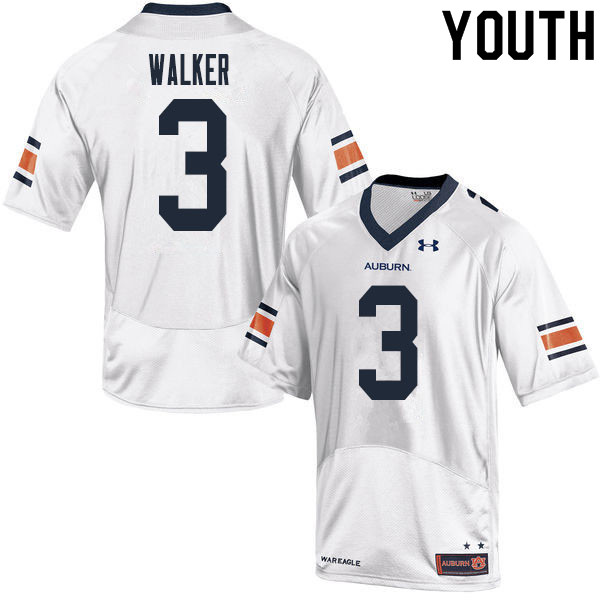 Youth #3 Zykeivous Walker Auburn Tigers College Football Jerseys Sale-White