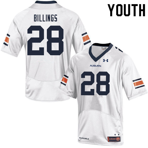 Youth #28 Jackson Billings Auburn Tigers College Football Jerseys Sale-White