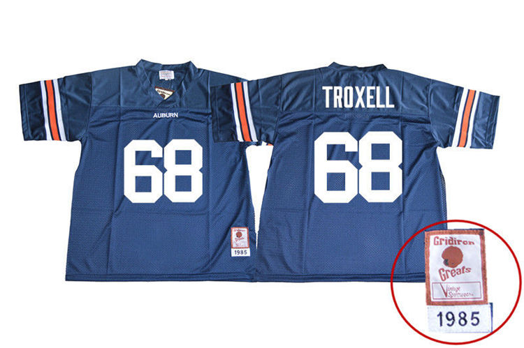 1985 Throwback Youth #68 Austin Troxell Auburn Tigers College Football Jerseys Sale-Navy