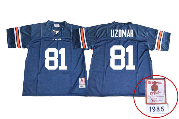 1985 Throwback Youth #81 C.J. Uzomah Auburn Tigers College Football Jerseys Sale-Navy