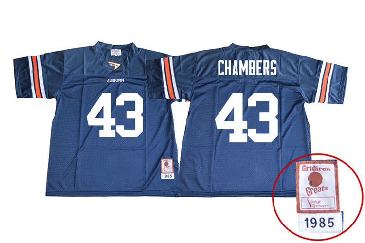 1985 Throwback Youth #43 Cedric Chambers Auburn Tigers College Football Jerseys Sale-Navy