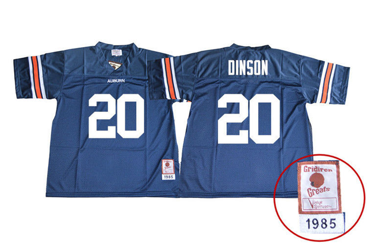 1985 Throwback Youth #20 Jeremiah Dinson Auburn Tigers College Football Jerseys Sale-Navy