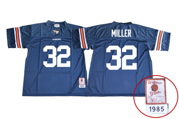1985 Throwback Youth #32 Malik Miller Auburn Tigers College Football Jerseys Sale-Navy