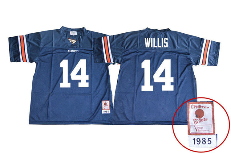 1985 Throwback Youth #14 Malik Willis Auburn Tigers College Football Jerseys Sale-Navy