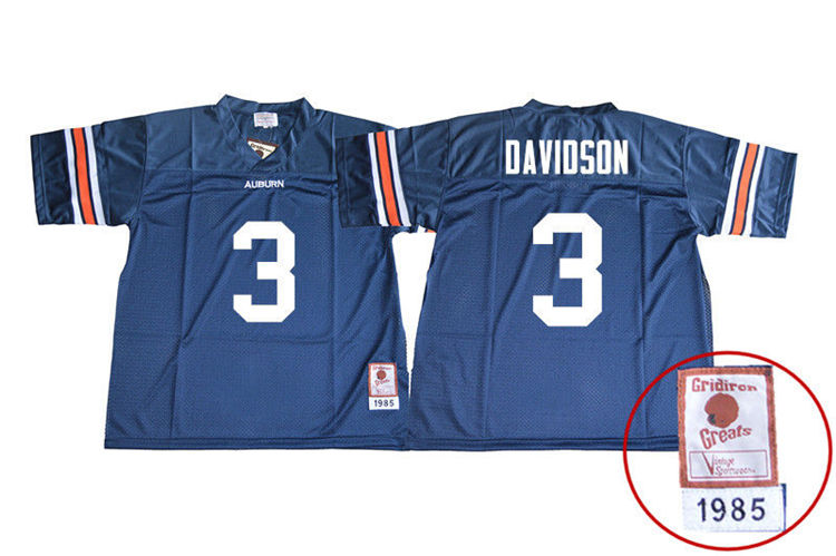 1985 Throwback Youth #3 Marlon Davidson Auburn Tigers College Football Jerseys Sale-Navy