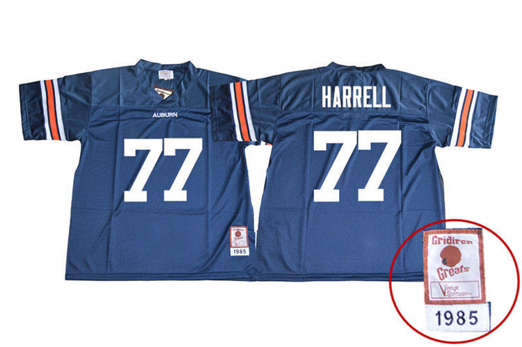1985 Throwback Youth #77 Marquel Harrell Auburn Tigers College Football Jerseys Sale-Navy