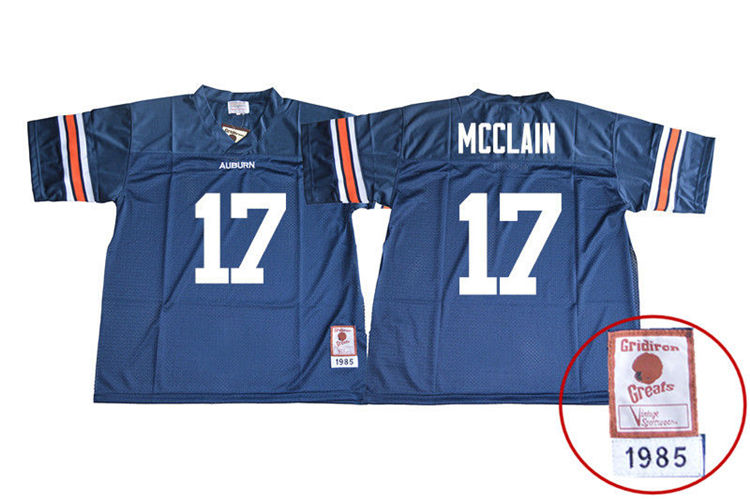 1985 Throwback Youth #17 Marquis McClain Auburn Tigers College Football Jerseys Sale-Navy