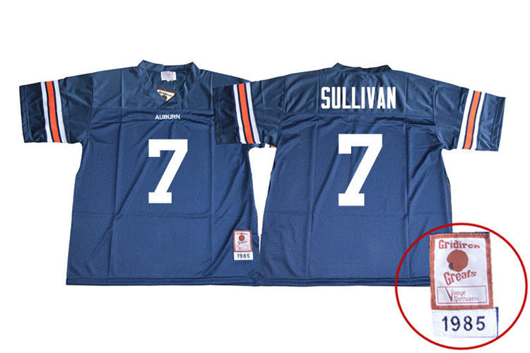 1985 Throwback Youth #7 Pat Sullivan Auburn Tigers College Football Jerseys Sale-Navy