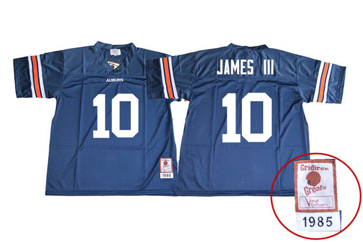 1985 Throwback Youth #10 Paul James III Auburn Tigers College Football Jerseys Sale-Navy