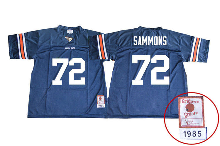 1985 Throwback Youth #72 Prince Micheal Sammons Auburn Tigers College Football Jerseys Sale-Navy