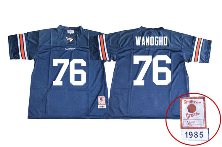 1985 Throwback Youth #76 Prince Tega Wanogho Auburn Tigers College Football Jerseys Sale-Navy