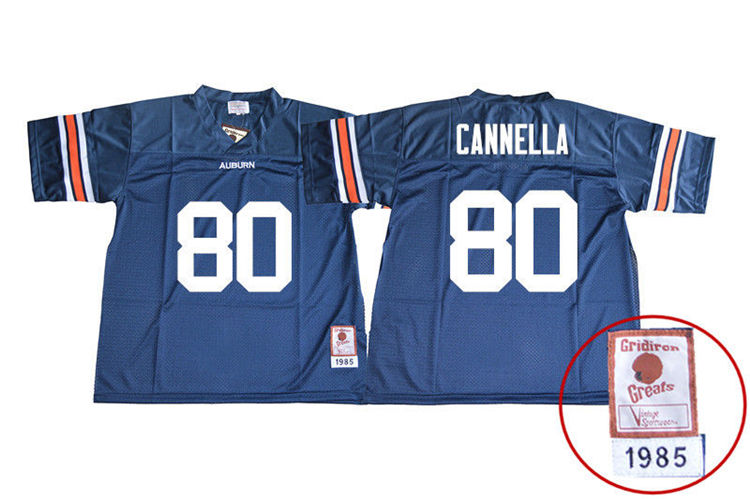 1985 Throwback Youth #80 Sal Cannella Auburn Tigers College Football Jerseys Sale-Navy