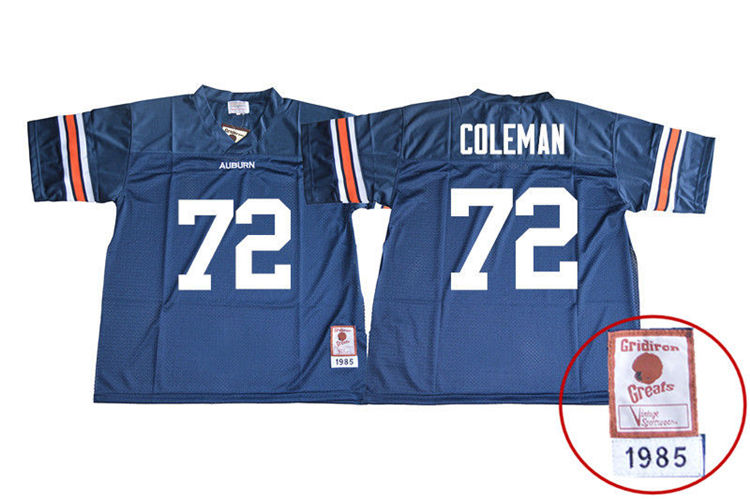 1985 Throwback Youth #72 Shon Coleman Auburn Tigers College Football Jerseys Sale-Navy