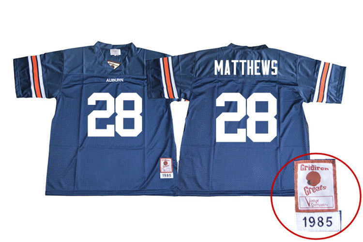 1985 Throwback Youth #28 Tray Matthews Auburn Tigers College Football Jerseys Sale-Navy