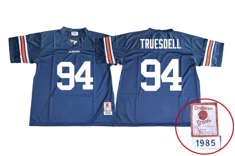 1985 Throwback Youth #94 Tyrone Truesdell Auburn Tigers College Football Jerseys Sale-Navy